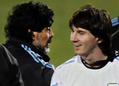 Diego Armando Maradona e Lionel Messi