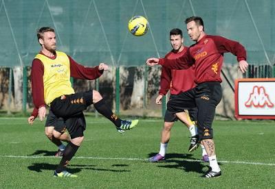 La Roma in allenamento a Trigoria (Getty Images)
