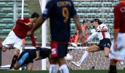 Il gol di Panucci che aprì la goleada giallorossa