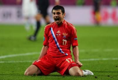 Alan Dzagoev autore di due gol con la Russia