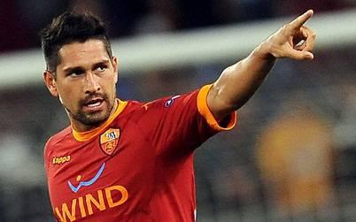 L'attaccante della Roma Marco Borriello