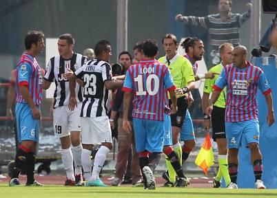 Un'immagine della gara di oggi tra Catania e Juventus (Getty Images)