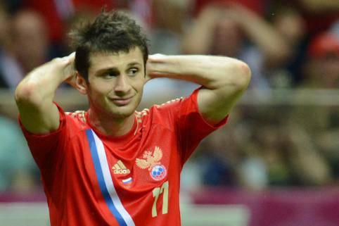 Il centrocampista dell'Anzhi Alan Dzagoev
