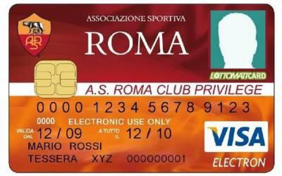 Un fac simile della privilege card della Roma