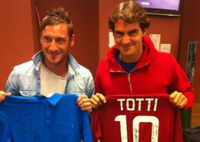 Francesco Totti e Roger Federer