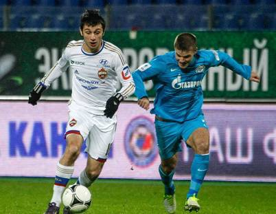 L'attaccante russo Alan Dzagoev (a sinistra) (Getty Images)
