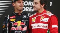 Fernando Alonso con il suo rivale Sebastian Vettel