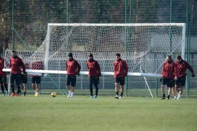 La As Roma in allenamento