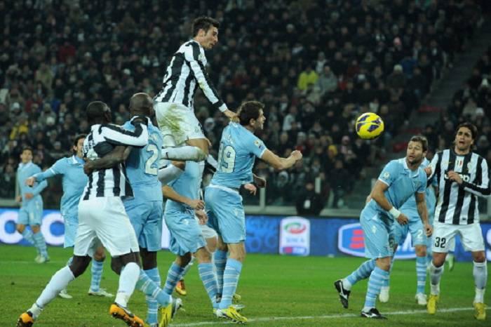 Il momento del vantaggio juventino in Juventus Lazio di questa sera (Getty Images)