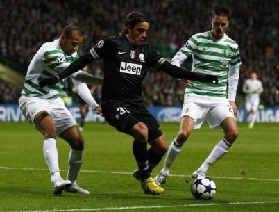 Alessandro Matri in azione contro il Glasgow