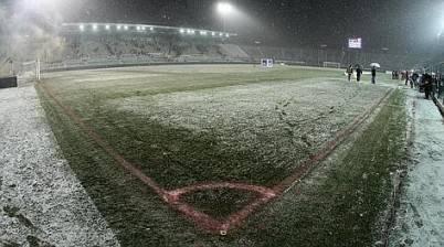 Lo stadio Atleti Azzurri d'Italia sotto la neve