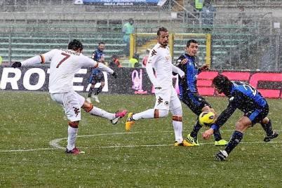 Il brasiliano Marquinho in gol contro l'Atalanta