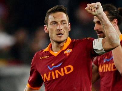 Il capitano giallorosso Francesco Totti