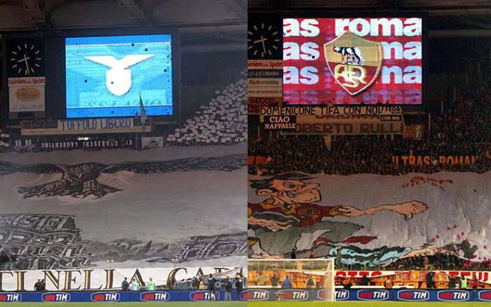 Un'immagine delle tifoserie di Lazio e Roma a confronto