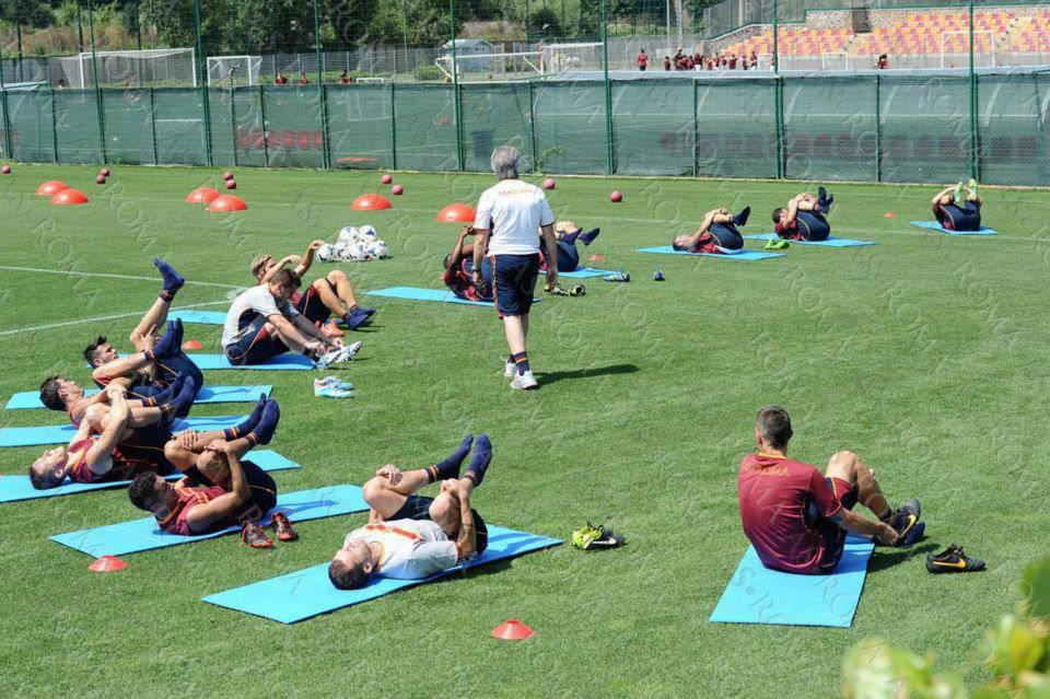 La As Roma durante gli allenamenti
