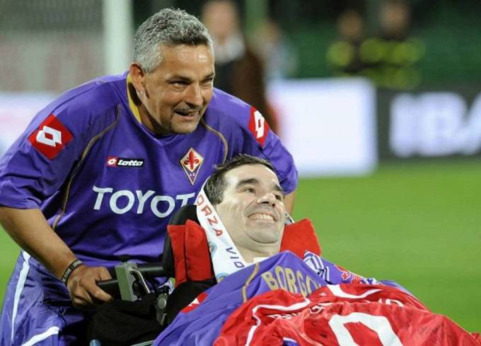 Stefano Borgonovo con Roberto Baggio