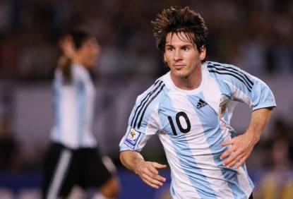 Messi con la maglia dell'Argentina