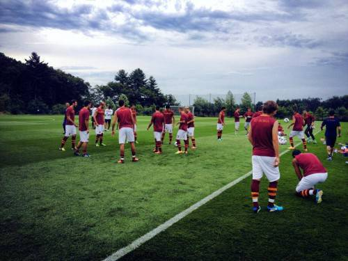 La As Roma si allena a Boston