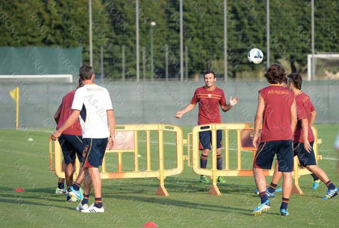 La Roma si allena a Trigoria