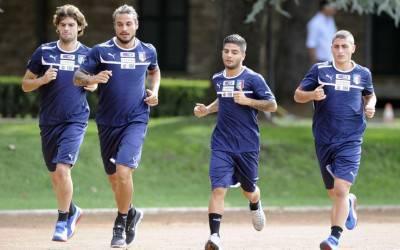 Osvaldo in allenamento con l'Italia