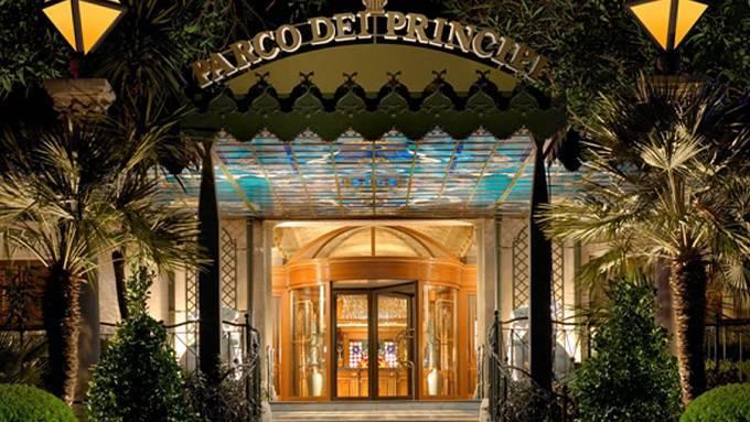 L'entrata dell'hotel Parco dei Principi