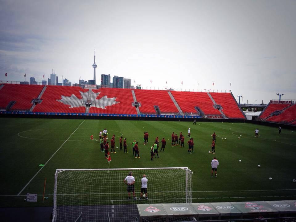 Il campo sul quale si sta allenando la Roma a Toronto