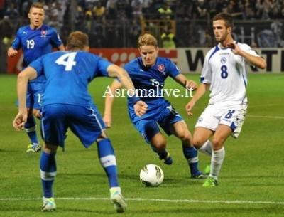 Miralem Pjanic durante la gara di ieri contro la Slovacchia (Getty Images)