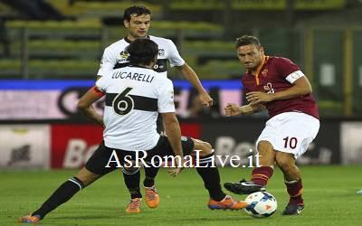 Un frame di Parma-Roma 1-3