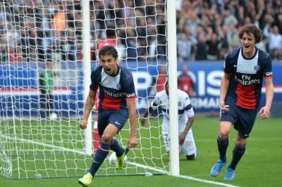 Marquinhos esulta in maglia PSG