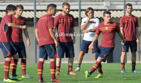 La Roma in allenamento