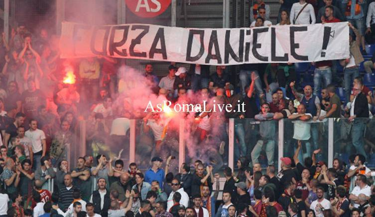 Roma-Juventus Striscione Daniele