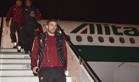 Arrivo dei giallorossi a Bergamo (foto As Roma)
