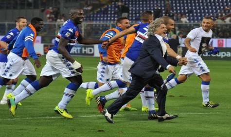 Il presidente Ferrero festeggia con la squadra