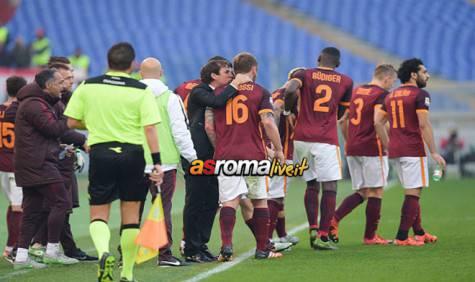 Roma-Genoa esultanza squadra