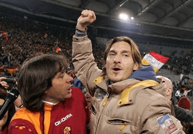Bruno Conti e Francesco Totti (Getty Images) AsRl
