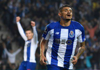 FC Porto's Brazilian forward Tiquinho celebrates after scoring a goal during the Portuguese league football match between FC Porto and FC Famalicao at the Dragao stadium in Porto on October 27, 2019. (Photo by MIGUEL RIOPA / AFP) (Photo by MIGUEL RIOPA/AFP via Getty Images)